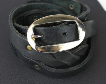 Black Twisted Narrow Leather Belt size US 29
