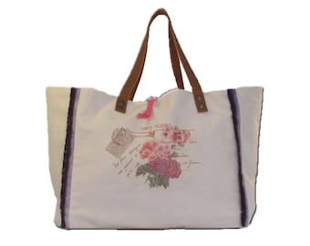 Large bag canvas Métis print bouquet of roses