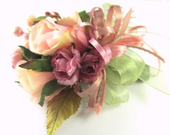 Cottage Rose Boutonniere or Corsage in Mauve, Peach Blush, Olive Green