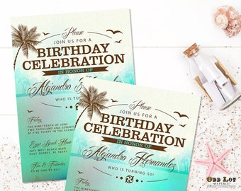 Beach Birthday Invitations Tropical Beach Party Invitations Palm Trees Ocean Surfing Summer Party Invite Printable Invitation Blue