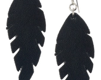 Leather Look Feather Earrings - Black