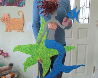 Large Metal Wall Art Mermaid Sculpture Recycled Metal Mermaid On Starfish Lime Green Turquoise Tropical Fish Redhead 24 x 25