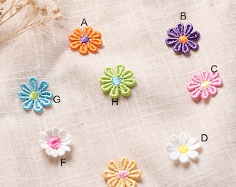 """80pcs 2.5cm 0.98"""" wide blue/green daisy embroidery clothes dress appliques patches SW51OC20AS124IO free ship"""