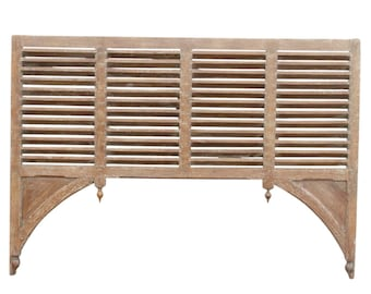 Indo French Sculptural Partition Headboard, Indo French, Headboard, King Headboard, Carved Headboard, Wooden Headboard