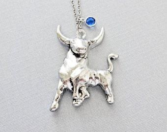 Large Bull Necklace, Longhorn, Cattle, Ranch, Texas Cowboy, Taurus, Birthday Gift, Silver Birthstone Jewelry, Swarovski Channel Birthstone