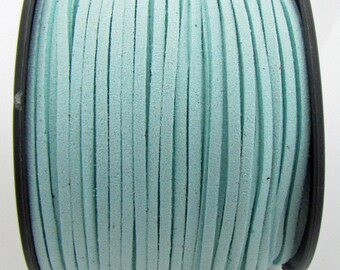 3mm flat faux suede leather cord,light cyan,3X1.5mm,1-5yards