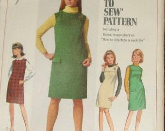 Jumper Dress 1960s Vintage Sewing Pattern SIMPLICITY 7270, Bust 32