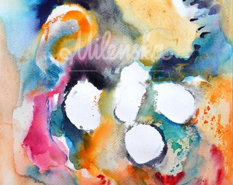 Original watercolor abstract painting on cardboard in orange, bright yellow, black, white, blue, gold dust 30x42 cm (app.12x17')