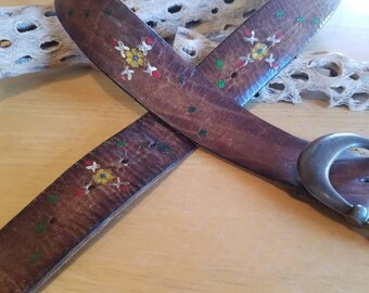 Vintage Red Roses Leather  Belt