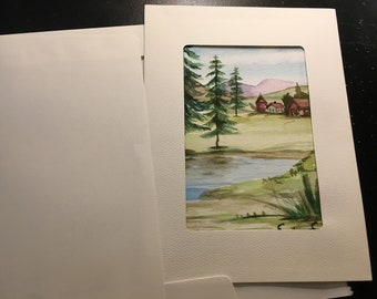 Watercolor original painting landscape