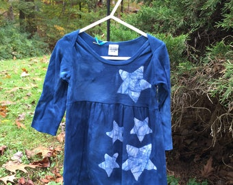 Girls Star Dress, Dark Blue Girls Dress, Blue Star Dress, Celestial Girls Dress, Batik Girls Dress, Long Sleeve Girls Dress (18 months)