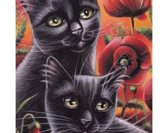 Black Cat Poppies Flowers Sunset Spring Original Painting 7x5