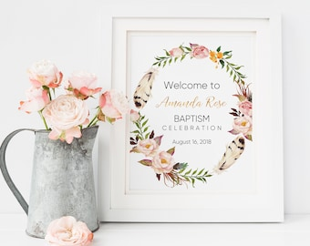 Baptism Invitation, Baptism, Christening, First Communion Gift, Centerpieces, Welcome Sign, Baptism Decorations, Communion Favors Nursery W5