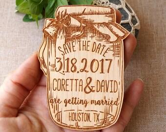Rustic save the date Save the date - Save the date magnet - Save the dates - Wooden save the date magnet - mason jar save the dates, 10 pc