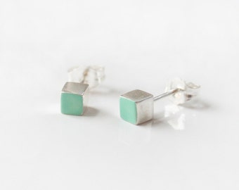 Mint Sterling Silver cube stud earring - green, turquoise
