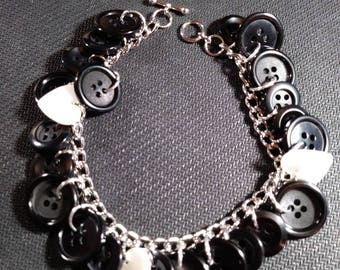 Black buttons and Mother of Pearl Hearts