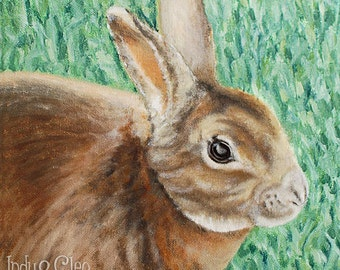 Bunny Art Print, Rex Rabbit Pet Portrait, Animal Art, Kids Wall Art, Home Decor, Bunny Lover Gift, Spring Easter Bunny, Koko the Rabbit