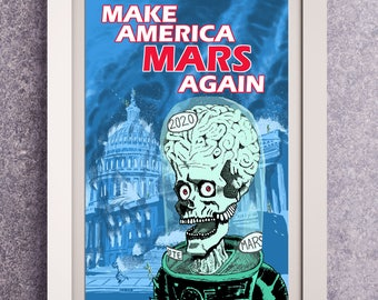 Mars Attacks | Halloween Decor | Tim Burton Poster | Wall Art | Frankenstein | October Birthday | Halloween Decor Mondo | Halloween