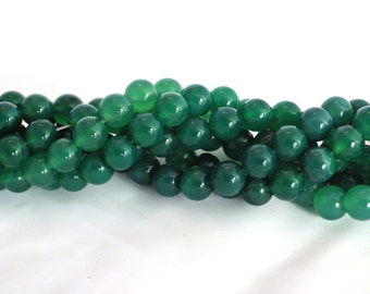 "10mm Green Onyx Gemstone Beads - 15.5"" string - 38 beads"
