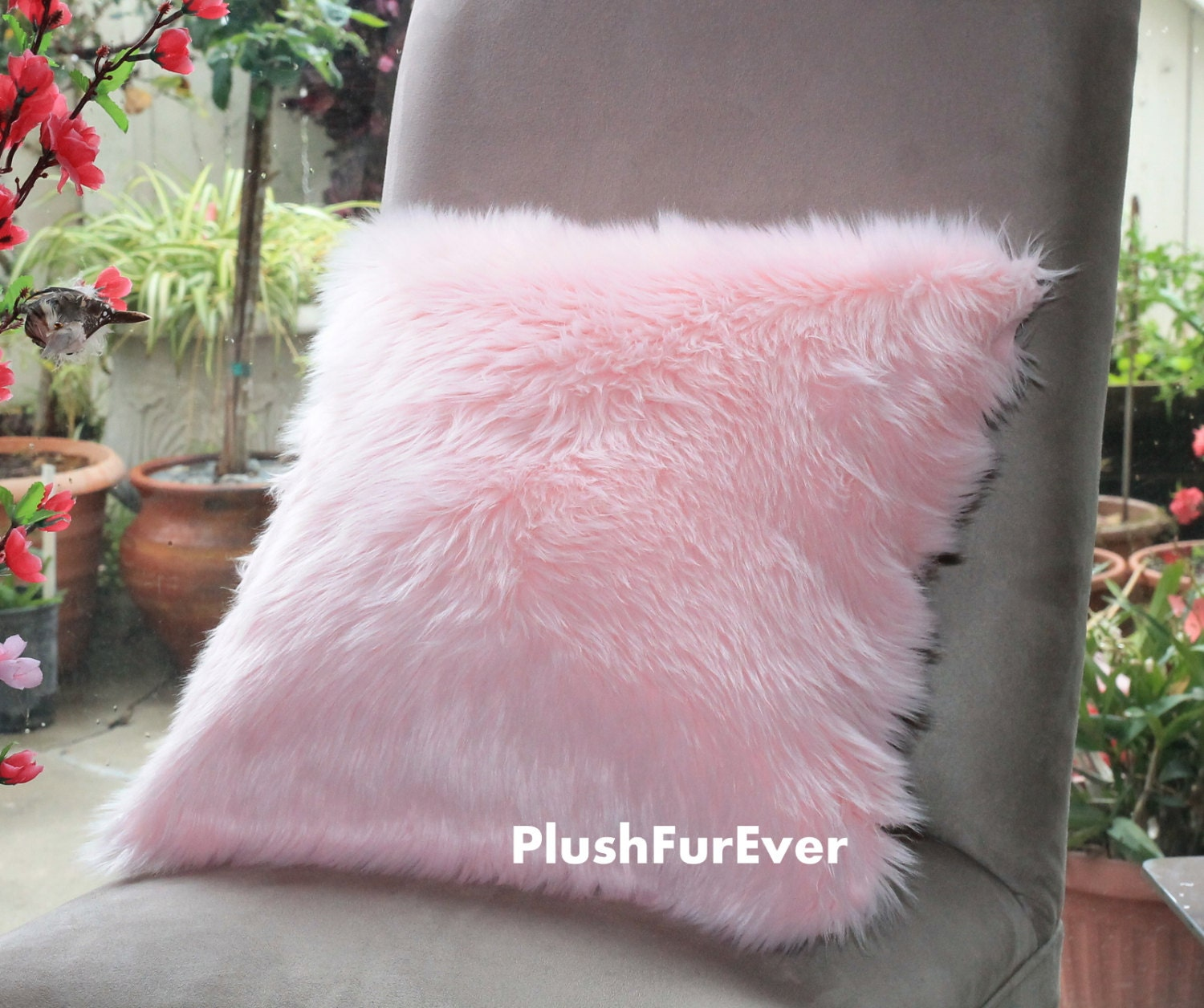 17x17 Pink Luxury Shaggy Fur Pillows Faux Fake Fur