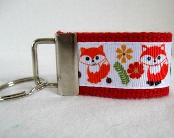 Small Fox Key Fob - RED Woodland Animals - Mini Key Chain - Foxes Zipper Pull - Fox Key Ring