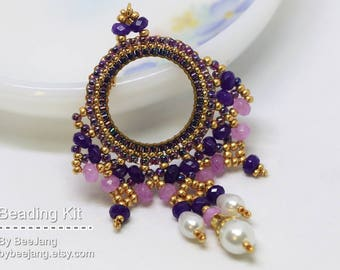 Beading Kit - Ayla Earrings/Pendant in Purple and Gold, Beadweaving Kit DIY Materials Tutorials