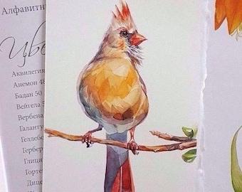 Authentic Watercolor painting, original, Bird, Aquarelle, Illustration, art