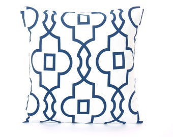 Navy Blue White Geometric Throw Pillow Cushion COVER Couch Sofa Pillow All SIZES One or More Nursery Pillow Bedding Euro Sham Oxford Blue
