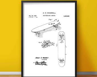 Skateboard Break Patent Poster - Skateboard Print - Skateboard Drawing - Bedroom Wall Art - Skater Poster - Skater Decor - Skater Print