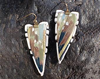 Polymer Clay Art Jewelry Futuristic Drop Shield Earrings