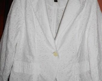 apostrophe bohemian clothing topjacket fashionjacketwhite jacket summer jacket cotton jacket embroidery jacket women's jacket sz 16 P jacket