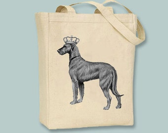 Royal Vintage Irish Wolfhound on Natural or Black Canvas Tote -- Selection of sizes available, ANY IMAGE COLOR