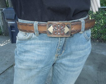 Tooled Leather Belt with Tooled Leather Buckle Great Hippie Belt