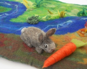 Needle Felted Rabbit  Waldorf, Hand Felted Rabbit,  Giant Carrot, Play Mat, Play Scape, Nature Table, Rabbit and Carrot, Bunny Rabbit
