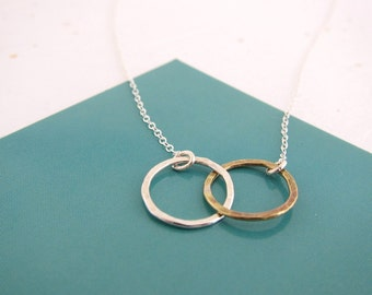 Silver and Gold Two Tone Cirlce Pendant Necklace, hammered and textured, customized, made in USA