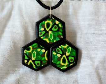 Green Hexagon/ Honeycomb Necklace, Polymer Clay Pendant
