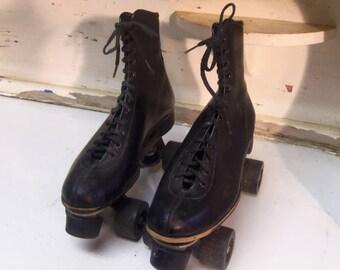 Vintage Black Roller Skates No Markings For Display Only C19