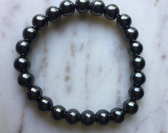 Hematite Beaded Bracelet Crystal Beads