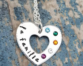 Family Familia Heart Necklace With Swarovski Crystals Birthstones