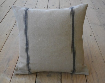 French Grain Sack  Pillow, Tan black stripes, Farmhouse Pillows,  Shabby Chic Decor 60, INSERT INCLUDED