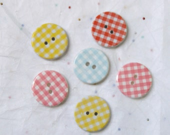 6 Gingham Buttons, Plaid Buttons, Crafting, Jewelry (X 22)