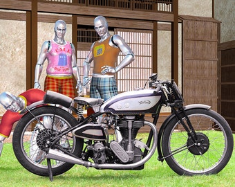 The Android Brothers Finally Meet Their (Great Great Grandfather) Norton - illustration, motorcycle. humor