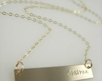 To The Side - Gold Bar necklace - Bar Name Necklace - Nameplate Necklace