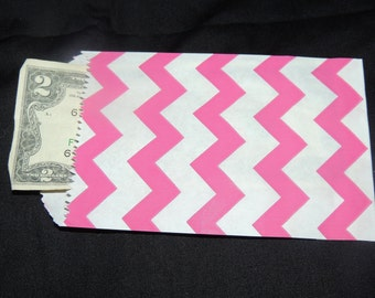 200 Mini Hot Pink Chevron 3 1/4 x 5 1/4 inches Flat Paper Bags, Cute 3.25x5.25 Kraft Goodie Favor Bags, Small Kraft Serrated Edge Gift Bag