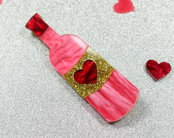 Rose Wine Brooch - Layered Laser Cut Acrylic