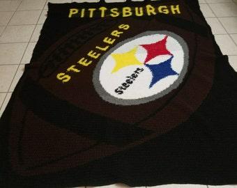 Crochet Blanket Pittsburgh Steellers  Football Team