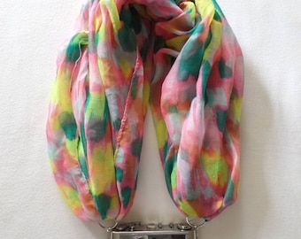 Pink Yellow Green Paint Style Repurposed Infinity Scarf Camera Strap