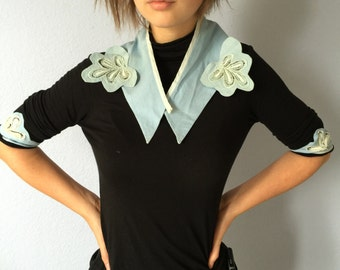 Antique Blue Lace Collar and Cuffs- Handmade Vintage Unique Accessory