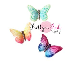 """TINY Sheer Butterfly Applique 2""""- Party Supply- DIY Supply- Sheer Craft- Hair Bows- DIY Craft Supply-Scrap booking- Card Making"""