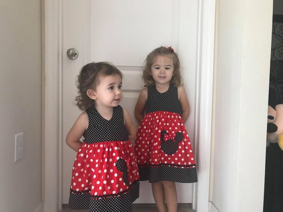 Disney Minnie Mouse Dress, Disney Vacation, Bow Dress, Disney Birthday Dress, Disney World, Red Minnie, Toddler dress, Baby dress
